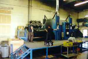 One of five rotational molding machines at the Scribner Plastics manufacturing facility.
